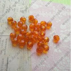 Бусины акриловые 8мм огранка оранжевый 10шт