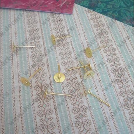 Заготовки для серег (пуссеты) диск 4мм золото пара б/заглушек