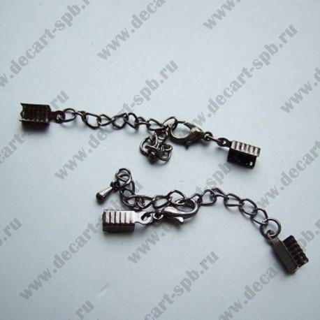 Зажим для маскировки узла с цепочкой (50мм) и карабином. Цвет-черный никель