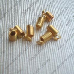 """Концевик """"пружина"""" 8мм золото (под шнур 2-2,5мм)"""