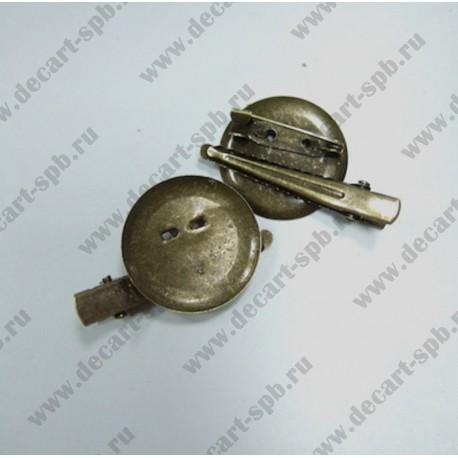 Заготовка для броши-прищепка с булавкой (диск 26мм) бронза