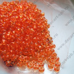Бисер 3мм оранжевый прозрачный 10гр Чехия