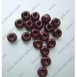 Бисер 4мм красно-коричневый непрозрачный , отверстие 2 мм 10гр Чехия