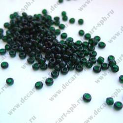 Бисер 4мм темно-зеленый прозрачный 10гр Чехия