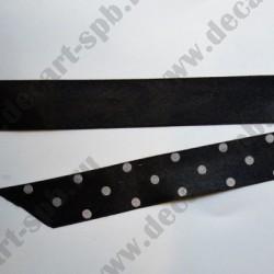 Лента атласная 20 мм (серый горох) 50 см