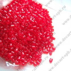 Бисер-рубка 2,5мм (диаметр 2мм) красный прозрачный 10гр Чехия