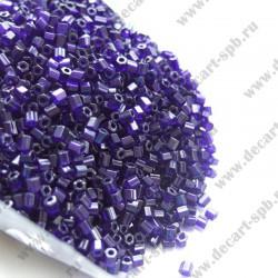 Бисер-рубка 2мм (диаметр 2мм) темный фиолет прозрачный 6 граней 10гр Чехия
