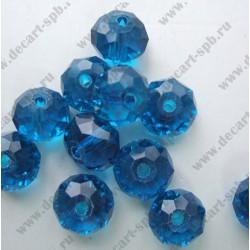 Бусина циркон (синтетический) 11х7 граненый,синий