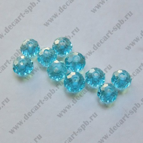 Бусина циркон (синтетический) 4х3 граненый 10штук голубой прозрачный
