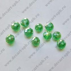 Бусина циркон (синтетический) 4х3 граненый 10штук зеленый АВ