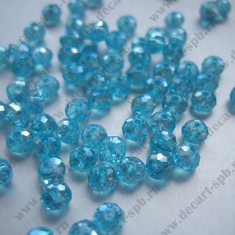 Бусина циркон (синтетический) 4х3 граненый голубой прозрачный АВ