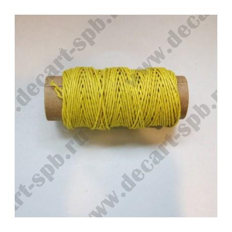 Нитка пеньковая для плетения толщина18 м ярко-желтый