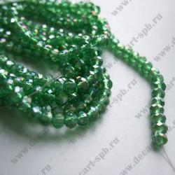Бусина циркон (синтетический) 6х4 граненый зеленый АВ