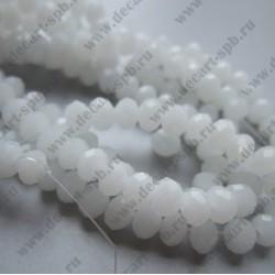 Бусина циркон (синтетический) 6х4 граненый полупрозрачный белый