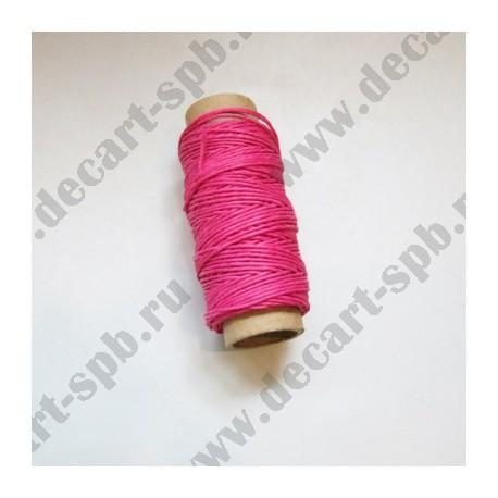 Нитка пеньковая для плетения толщина18 м ярко-розовая