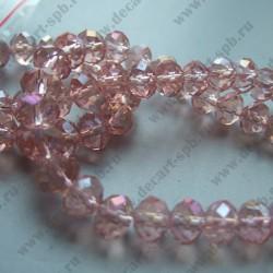 Бусина циркон (синтетический) 6х8мм граненый, розовый