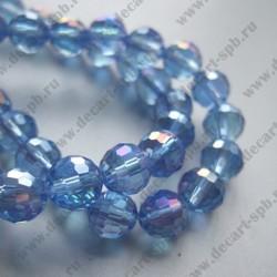 Бусина циркон (синтетический) 8мм граненый, голубой