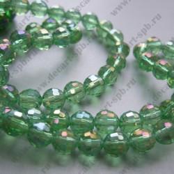 Бусина циркон (синтетический) 8мм граненый, светло-зеленый