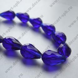 Бусина циркон (синтетический) капля 10х15 граненый, синий