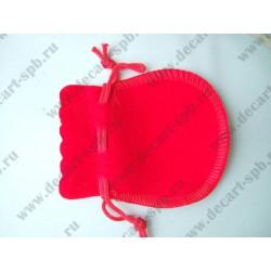 Мешочек из бархата круглый 9х7 см красный