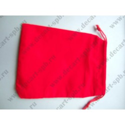 Мешочек из бархата прямоугольный 10х14 см красный