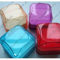 Футляр для кольца цветной пластик (4х4х3,5) (микс)