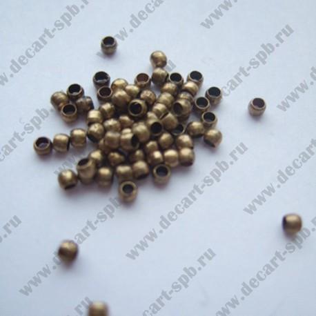 Зажимные бусины 2мм (бронза) 10шт
