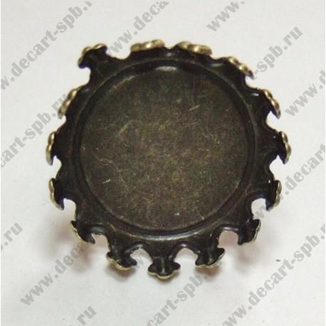 Заготовка для кольца кабошон 20мм бронза
