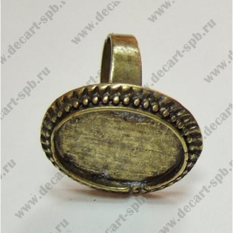 Заготовка для кольца точечки кабошон 18х13мм бронза