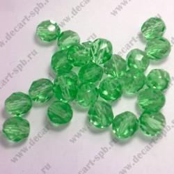 Бусины стеклянные 8мм граненые округлые зеленые 10шт