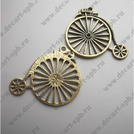 """Подвеска """"велосипед большой"""" 6см!!!! цвет-бронза с отливом латуни"""