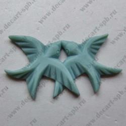 Две ласточки объемные серо-голубые 13х30мм