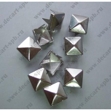 """Декор """"Пирамидка"""" с шипами 12х12мм никель"""