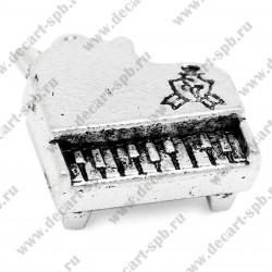 Подвеска Пианино  3D 19мм x 18мм цвет ант серебро