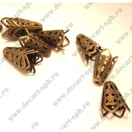 Шапочка декоративная (конус резной, бронза) 10х17