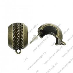 Основа для сережек  Пусеты серьги-гвоздики Арка 22мм x 14мм цвет ант бронза пара