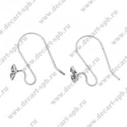 Основа для сережек - Швензы крючки Трелистник  22мм x 18мм цвет серебро пара