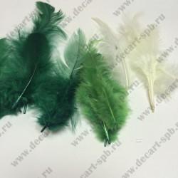 Декоративные перья бирюзовое ассорти 2г