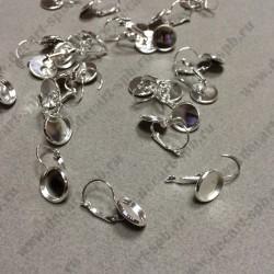 Серьги 27мм x 14мм  с основой для кабошона 12мм пара цвет серебро
