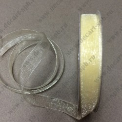 Лента капроновая 10 мм бежево-желтая 1м