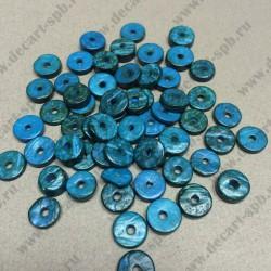 Бусины деревянные плоские 12мм-13мм отверстие 2мм 10 шт синие