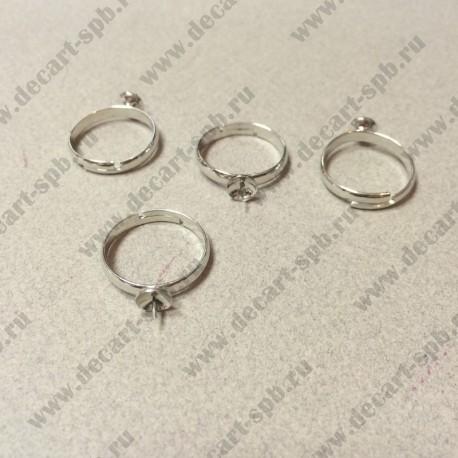 Основа для кольца 17мм с основой для бусины цвет серебро