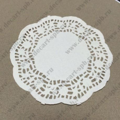 Салфетка бумажная белая  диаметр 10 см 10шт