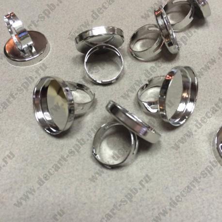 Кольцо 19.5мм с рамкой  для 25мм кабошона цвет ант серебро