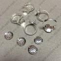 Основа для кольца 15мм с рамкой сеточкой 12,5мм цвет серебро