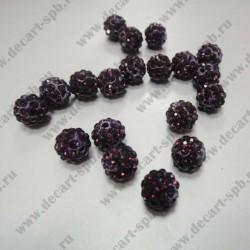 Бусина Шамбала 10мм фиолетовая