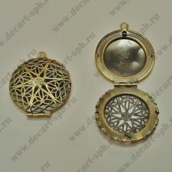 Подвеска-медальон открывающаяся 28 мм цвет бронза