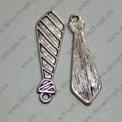 "Подвеска ""галстук"" 30х18 мм цвет - ант.серебро"
