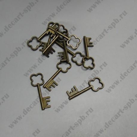 "Подвеска ""ключ клеер"" 33х13 мм цвет бронза"