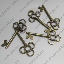 "Подвеска ""ключ с тремя лепестками"" 53х23 мм цвет бронза"
